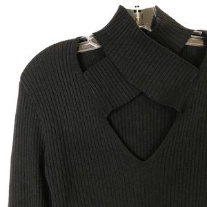 BAILEY 44 Black All In Criss Cross Ribbed Sweater